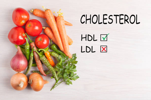 Prevention High Cholesterol Good HDL and bad LDL cholesterol text and group vegetables. Diet, healthy lifestyle concept. cholesterol stock pictures, royalty-free photos & images