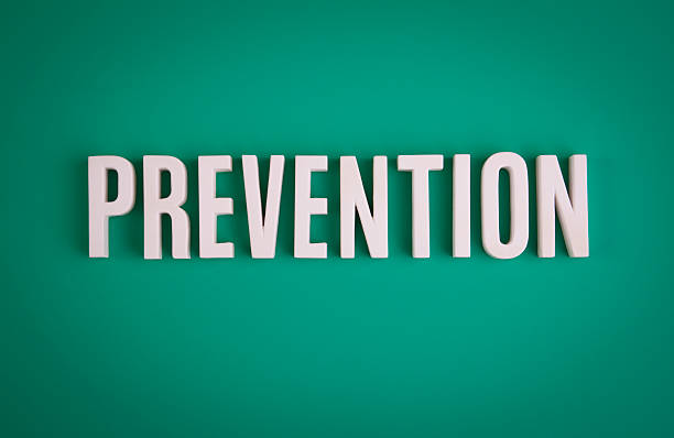 Prevention sign lettering stock photo