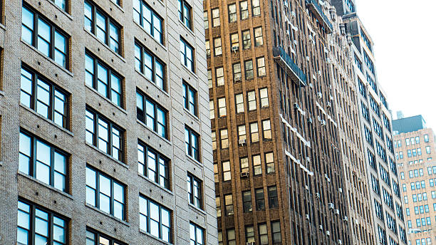 Pre-War Building Facades seen around 29th and 7th Avenue Manhattan stock photo
