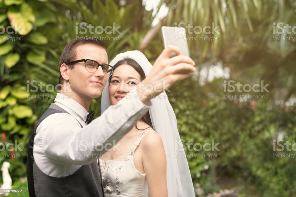 Pre-wedding of the bride and groom. stock photo