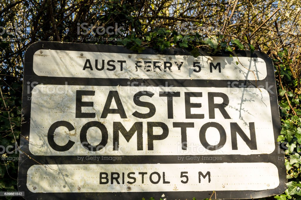 Pre-worboys old road sign for Easter Compton including Aust Ferr stock photo