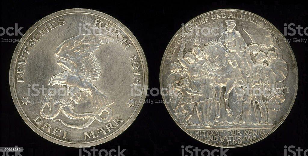 Pre-WWI German Drei Mark Coin stock photo