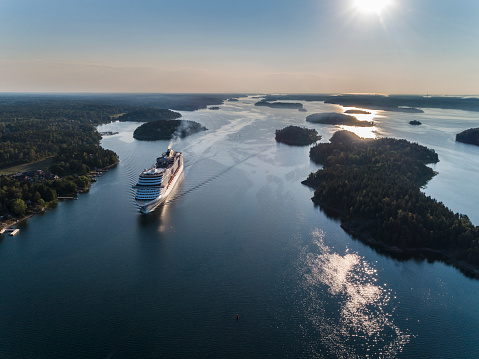 MSC Preziosa Cruiser Ship passing by in the Stockholm Swedish archipelago