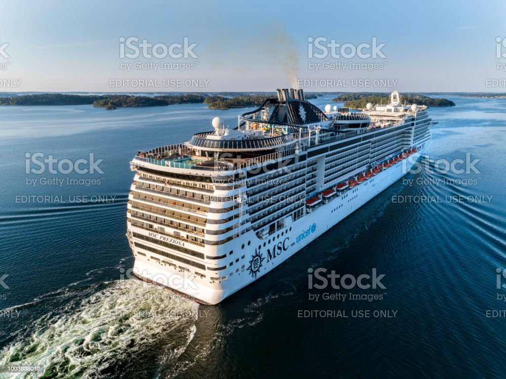MSC Preziosa Cruiser Ship passing by in the Stockholm Swedish archipelago stock photo