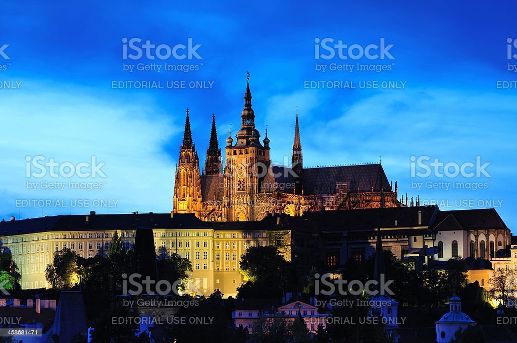 Prgaue Castle at Night royalty-free stock photo