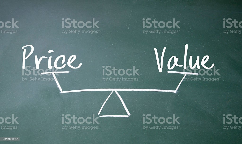 price and value balance sign stock photo