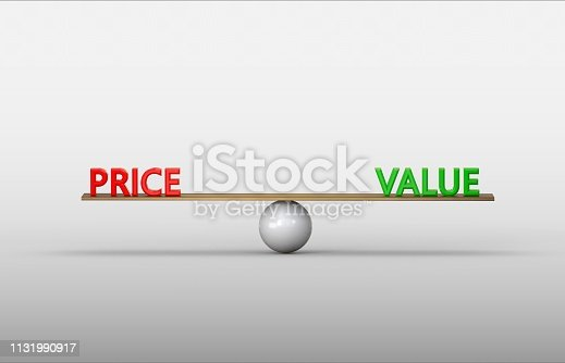 istock Price and Value in perfect balance 1131990917