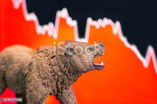 Bearish scenario in stock market with bear figure in front of red price drop chart.