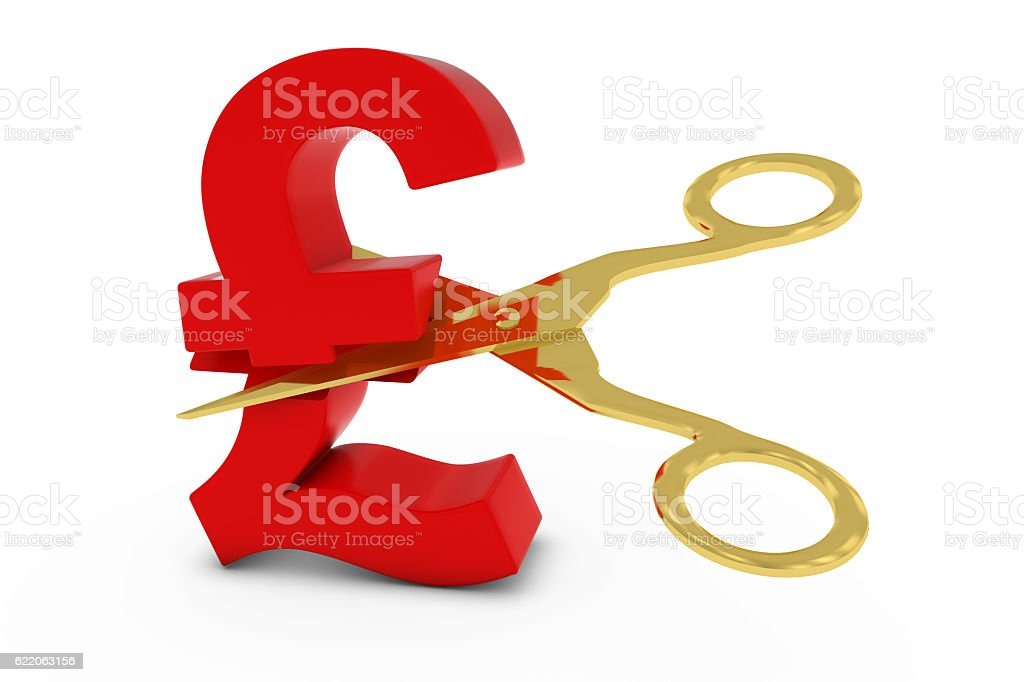 Price Cutdeflation Concept Red Pound Symbol Stock Photo More