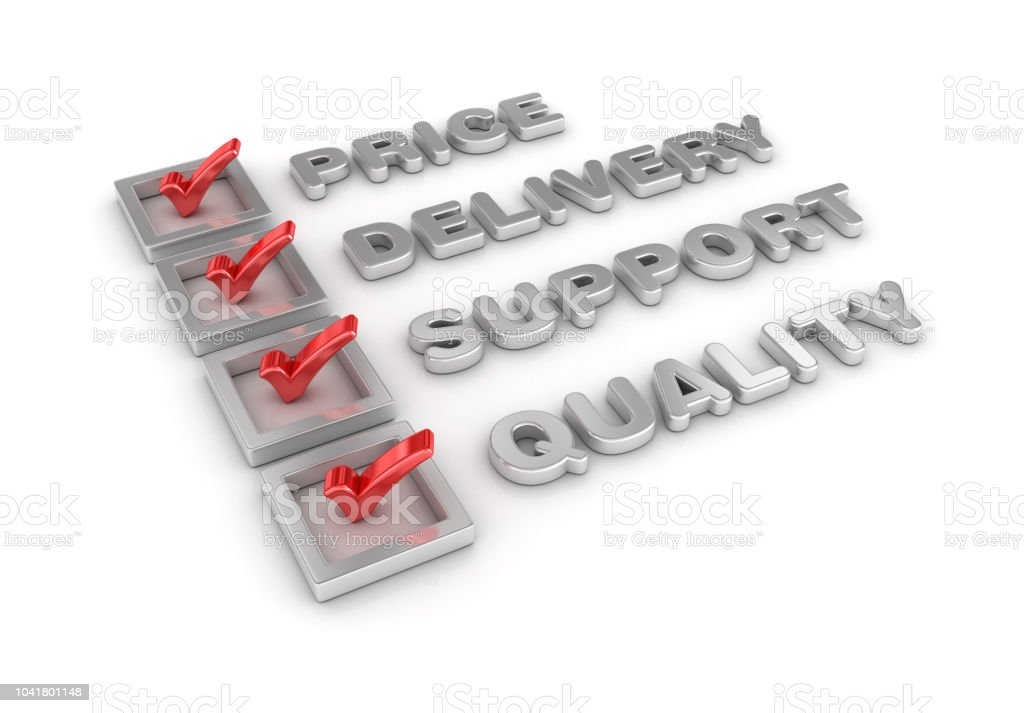 Price Delivery Support Quality 3D Check List - White Background - 3D...