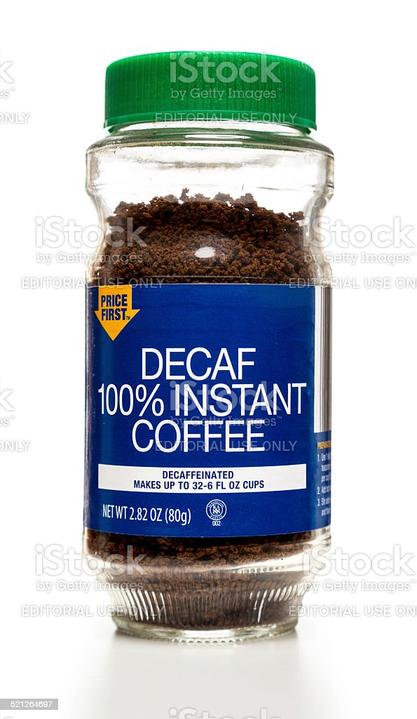 Price First Decaf Instant Coffee jar stock photo