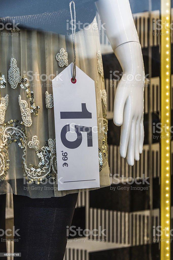 Price Label Showcase - Etiqueta de Precio en Escaparate stock photo