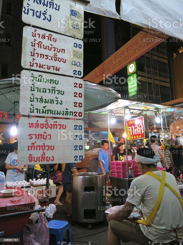 Price of juice and herb drinks, China Town, Bangkok royalty-free stock photo