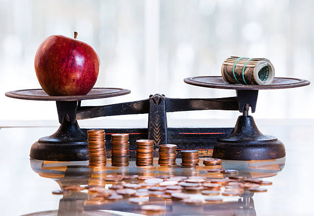 Price of the food dollars and apple on the antique scales, Piles of coins at front of scales. depreciation stock pictures, royalty-free photos & images