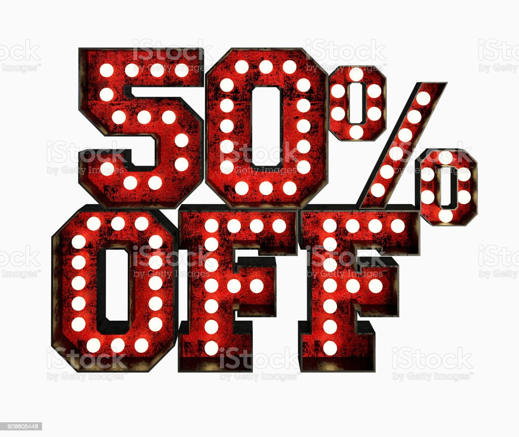 50% Price Off Made Of Red Rusty Light Bulb Signs. stock photo