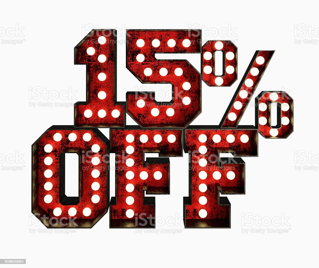 15% Price Off Made Of Red Rusty Light Bulb Signs. stock photo