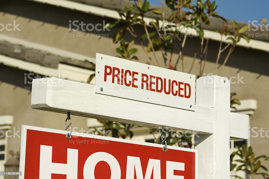 Price Reduced Real Estate Sign stock photo