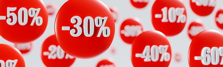 Price reduction discount banner. Business banner. 3D render. 3D illustration.