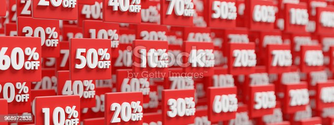 istock price reduction discount buttons background, 3D render 968972838