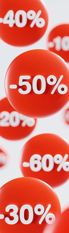 Price reduction. Discount vertical banner. Business advertising. 3D render. 3D illustration.