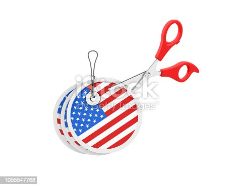 istock Price Shopping Tag with US Flag and Scissors - 3D Rendering 1055547768