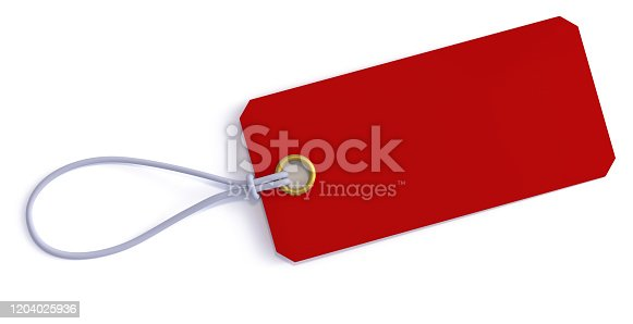 price tag, 3d rendering, isolated, on white background