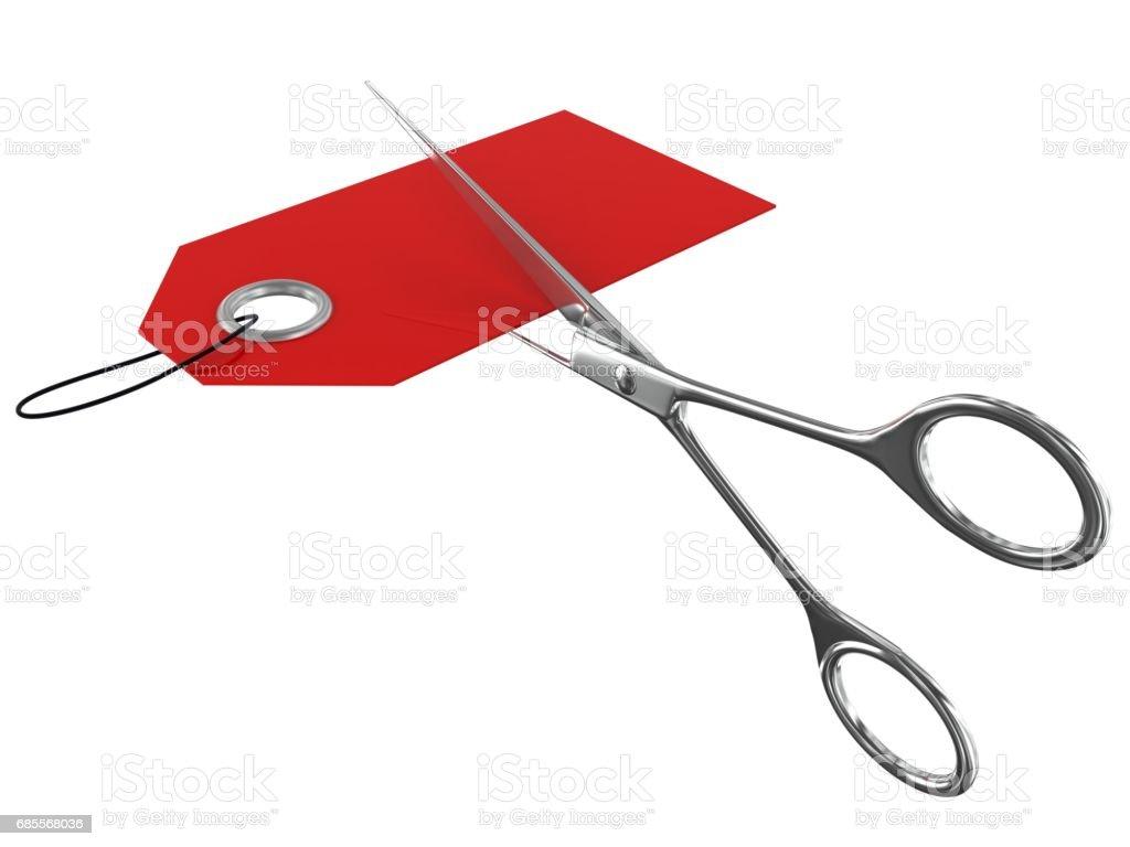 價格標籤剪剪刀 免版稅 stock photo