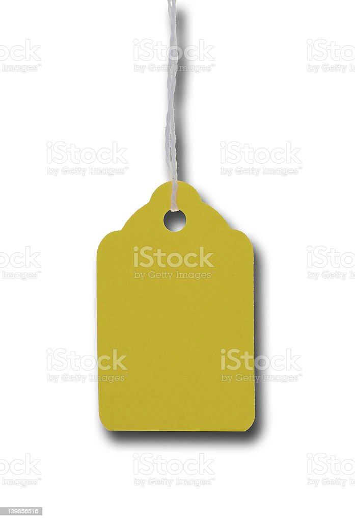 Price tag hanging yellow shadow royalty-free stock photo