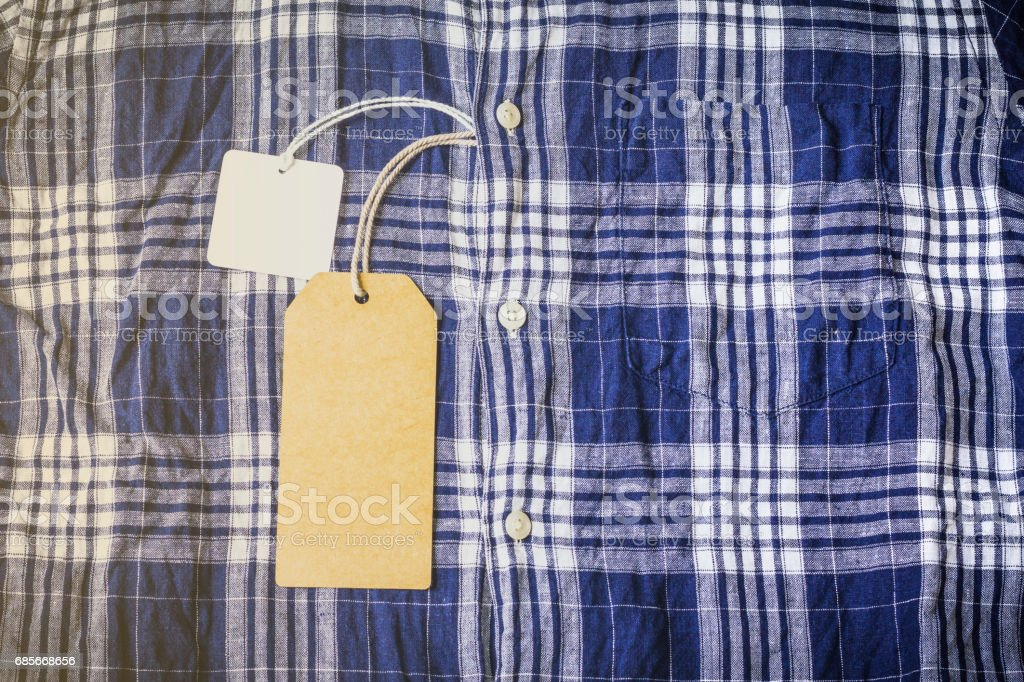 Price tag label of checkered shirt, Copy space. royalty-free 스톡 사진