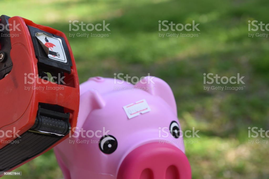 Price tag on Piggy Bank stock photo