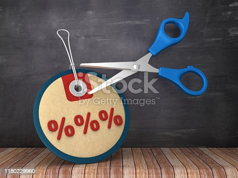 PERCENTAGE SIGN Price Tag with Scissors on Chalkboard Background - 3D Rendering