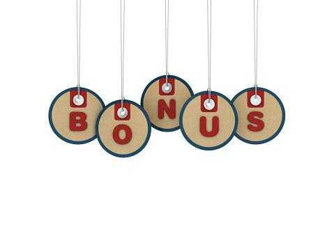 BONUS Price Tags Hanging on White Background - 3D Rendering