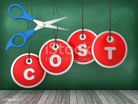 COST Price Tags with Scissors Hanging on Chalkboard Background - 3D Rendering