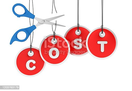 COST Price Tags with Scissors Hanging on White Background - 3D Rendering