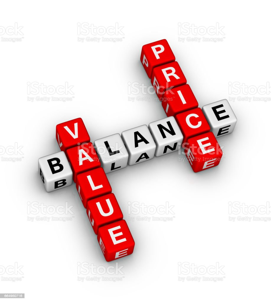 Price Value Balance Crossword stock photo