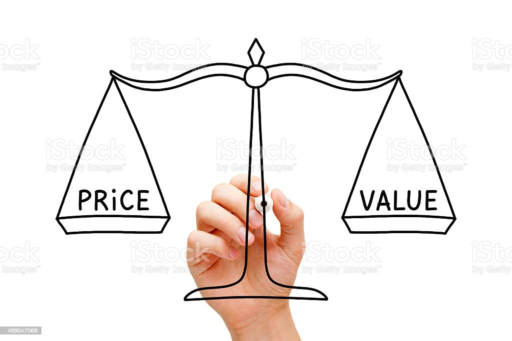 Price Value Balance Scale Concept stock photo