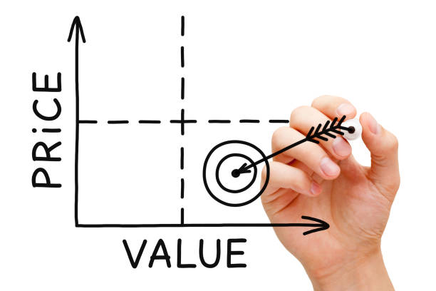 Price Value Graph Concept Hand drawing Price Value graph with black marker on transparent wipe board. miserly stock pictures, royalty-free photos & images
