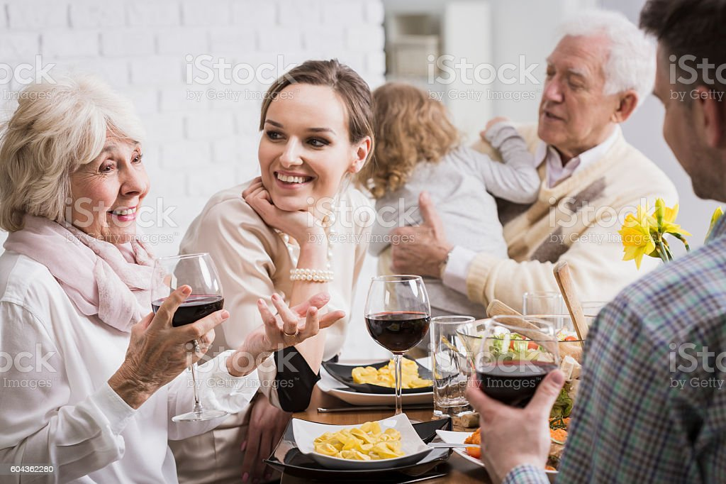 Priceless moments at the table stock photo