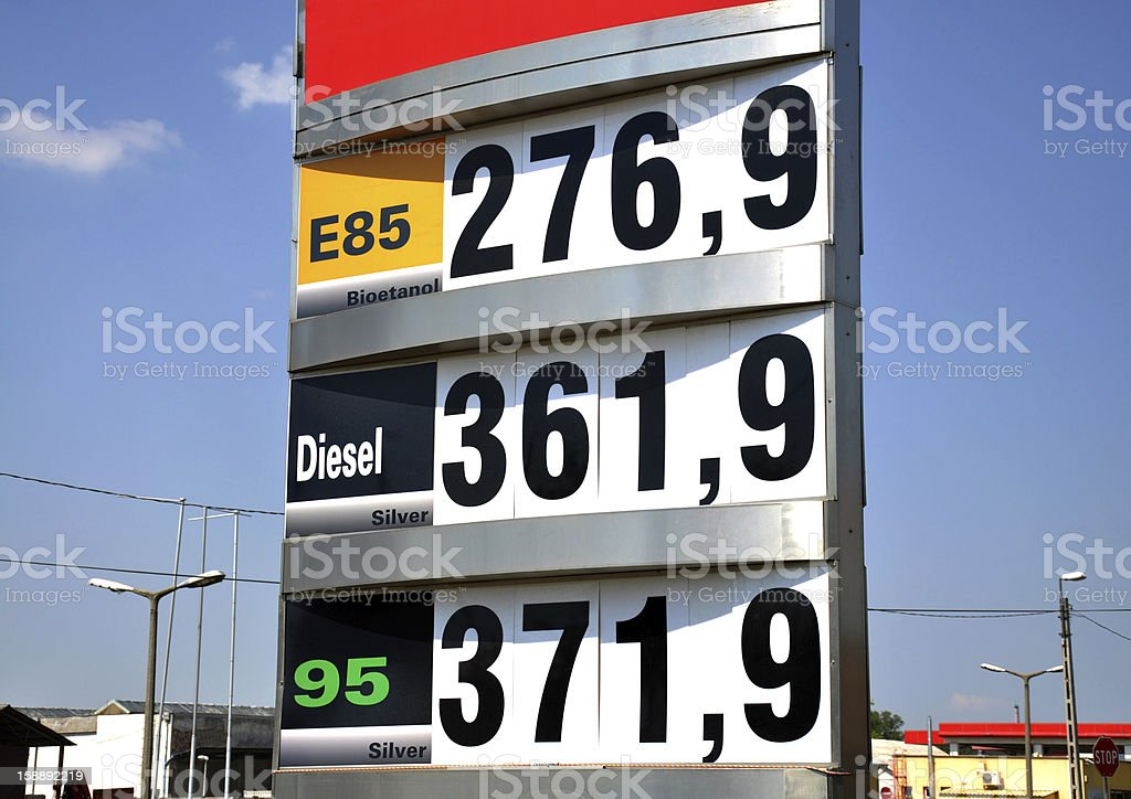 prices at the gas station stock photo