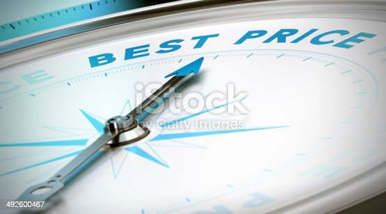 Compass with needle pointing the word best price. Conceptual 3D render image with depth of field blur effect for uillustration of prices comparison.