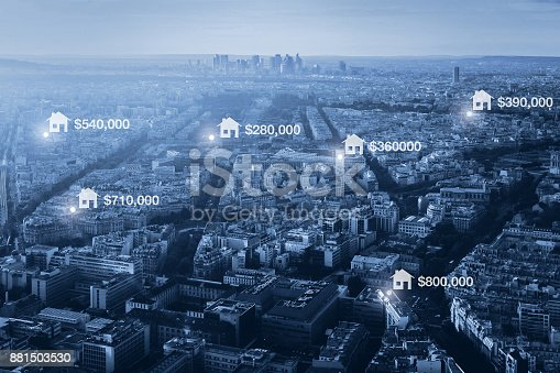 istock prices of real estate in the city, concept 881503530