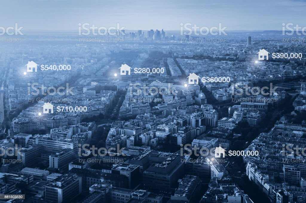 prices of real estate in the city, concept stock photo