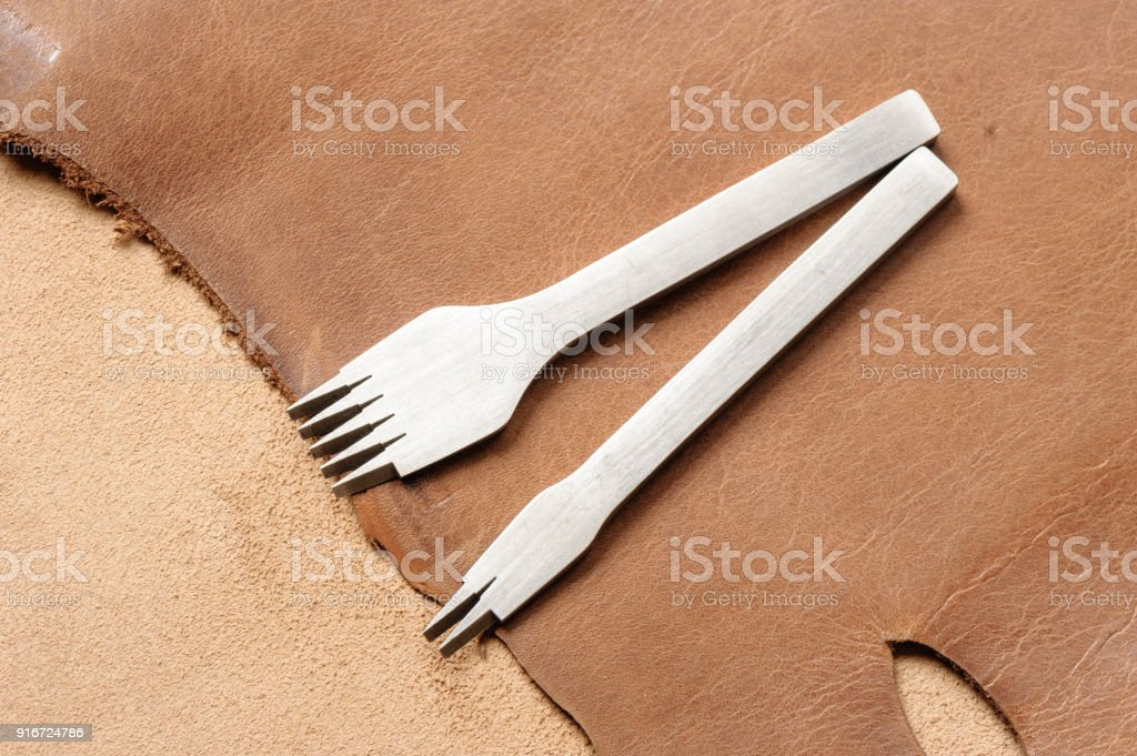 pricking irons, leather working tools stock photo