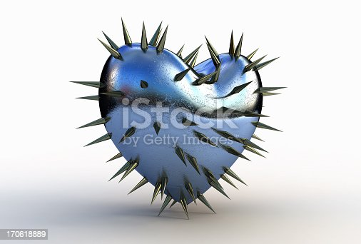 metal heart on a white background