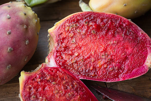 Prickly pear Prickly pear, sliced open opuntia ficus indica stock pictures, royalty-free photos & images