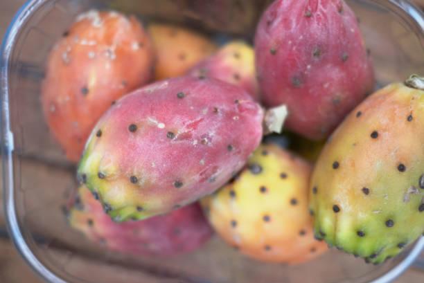 kaktusfeigen frucht - kaktusfrucht stock-fotos und bilder