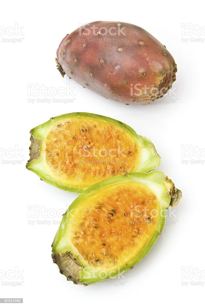 Prickly Pears, whole and halved. royalty-free stock photo