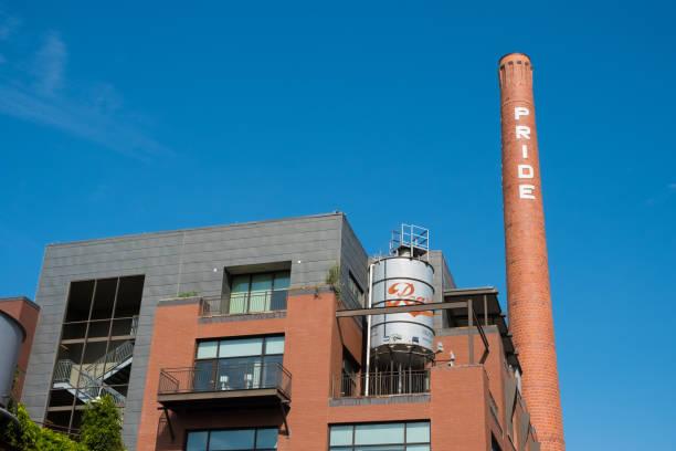 Pride Brick Smokestack San Antonio stock photo