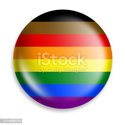 Rainbow Pride button that also recognized people of color