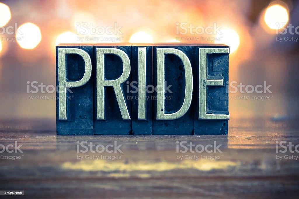 Pride Concept Metal Letterpress Type stock photo